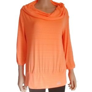 Adidas Orange Workout Cowl Neck Hoodie Medium